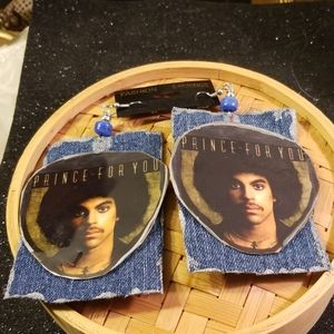 Prince for you Afro pic denim fabric earrings